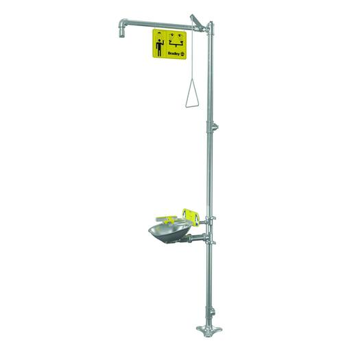 Bradley S19314FSS Free Standing Combination Pull Rod Operated Drench Shower & Hand Operated Eye & Face Wash, Includes Shower Head & Bowl