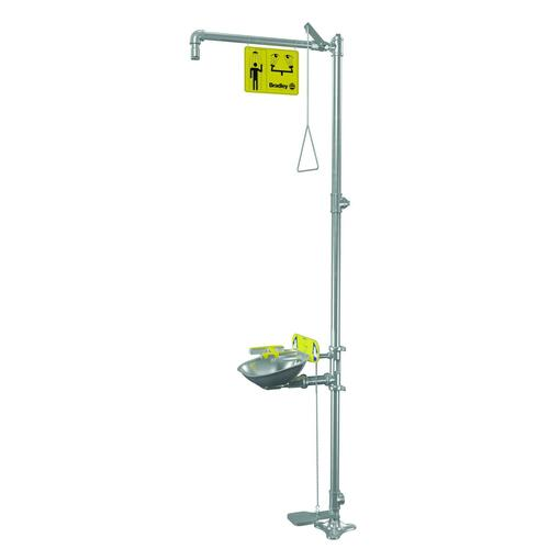 Bradley S19314SS Free Standing Combination Pull Rod Operated Drench Shower & Hand or Foot Pedal Operated Eye & Face Wash, Includes Shower Head & Bowl