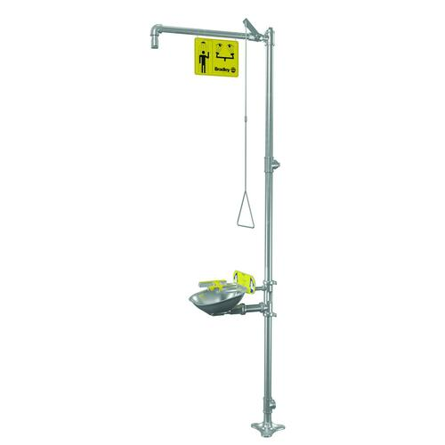 Bradley S19314BFSS Free Standing Barrier Free Combination Pull Rod Operated Drench Shower & Hand Operated Eye & Face Wash, Includes Shower Head & Bowl