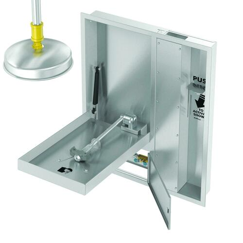 Bradley S19345HXBT Recessed Barrier Free Combination Drench Shower & Eye Wash, Extended Shower Head & P Trap