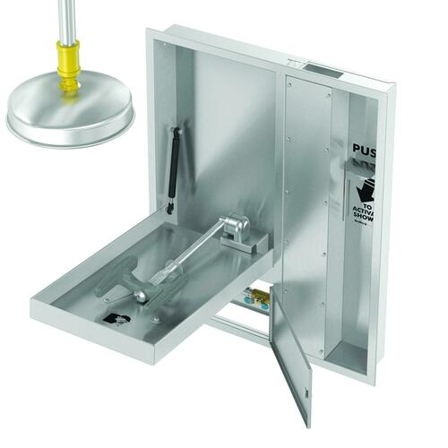 Bradley S19345JXBT Recessed Barrier Free Combination Drench Shower & Eye & Face Wash, Extended Shower Head & P Trap