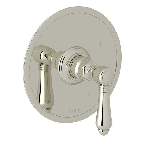 Rohl A1410LMPN Italian Country Bath Tub and Shower Pressure Balancing Valve Trim with Metal Single Lever Handle (Less Diverter), Polished Nickel