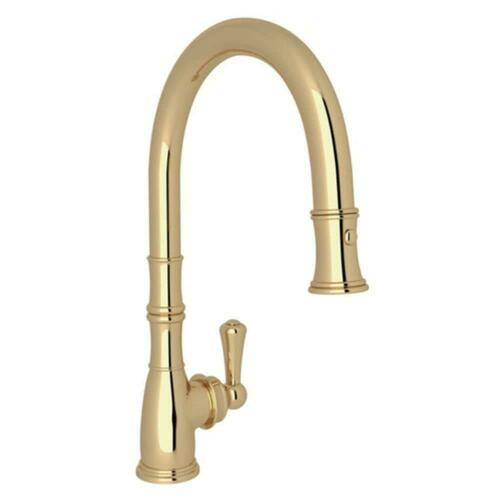 Rohl U.4744ULB-2 Single Handle Pull Down Kitchen Faucet, Unlacquered Brass