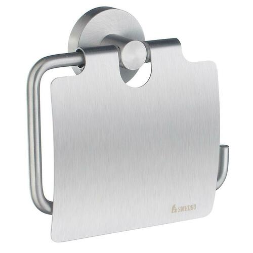 Smedbo HS3414 Toilet Roll Holder with Lid, Brushed Chrome
