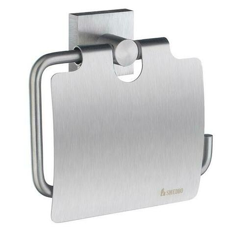 Smedbo RS3414 Roll Holder with Lid, Brushed Chrome
