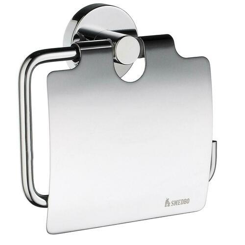 Smedbo HK3414 Toilet Roll Holder with Lid, Polished Chrome
