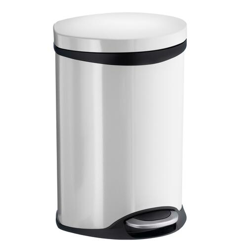 Smedbo FK662 1-1/2 Gallon Step Trash Bin, Stainless Steel/White