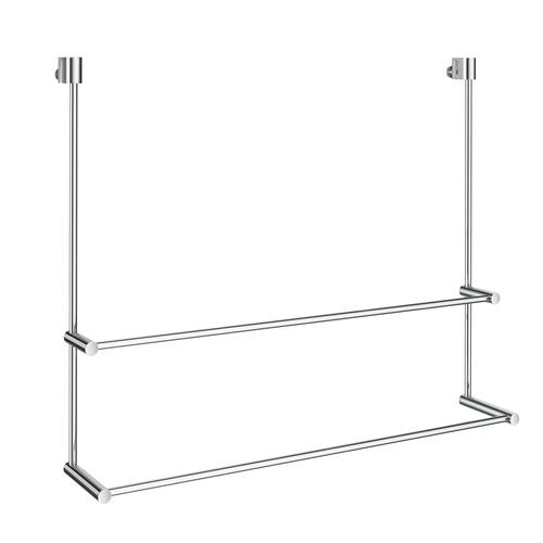 Smedbo DK3102 Double Towel Rack for Glass Shower Panel, Polished Chrome