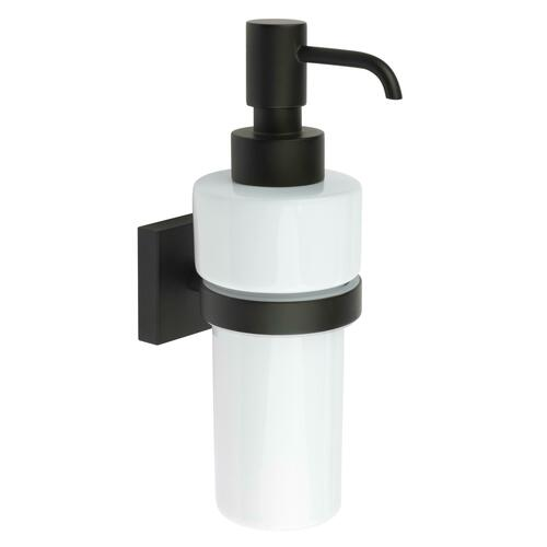 Smedbo RB369P Wall Mounted Soap Disp, Black/White Porcelain